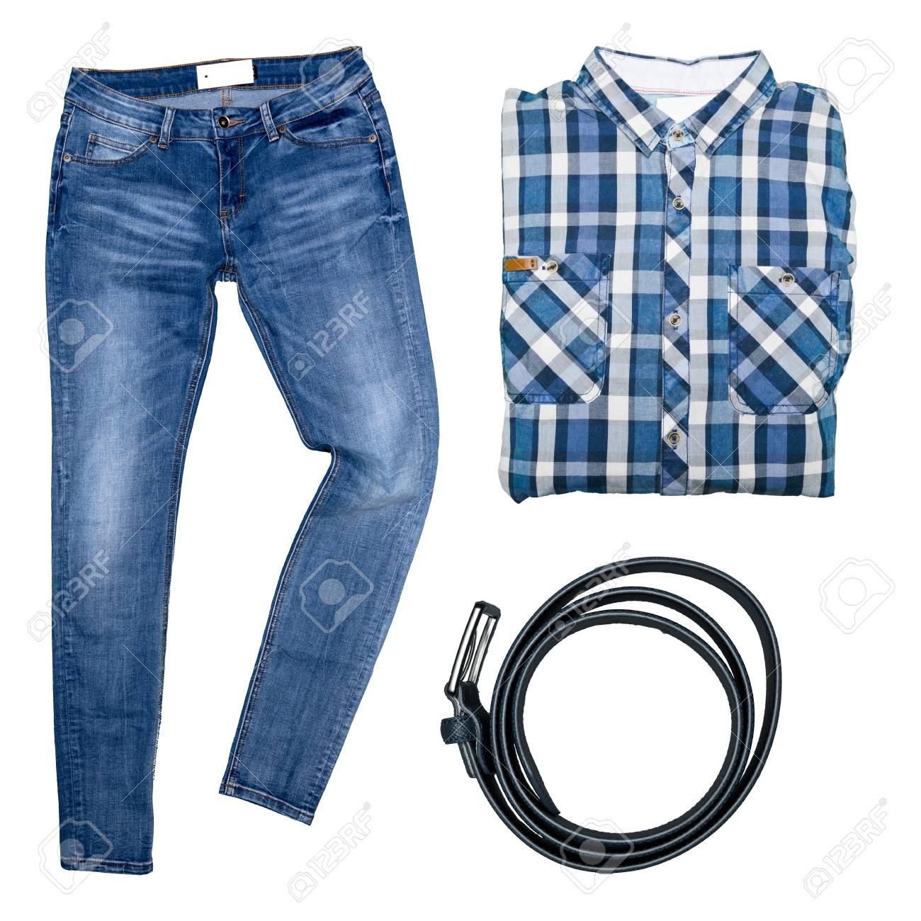 3366c02cb6 Colección de ropa masculina aislados en blanco Foto de archivo - 86269607