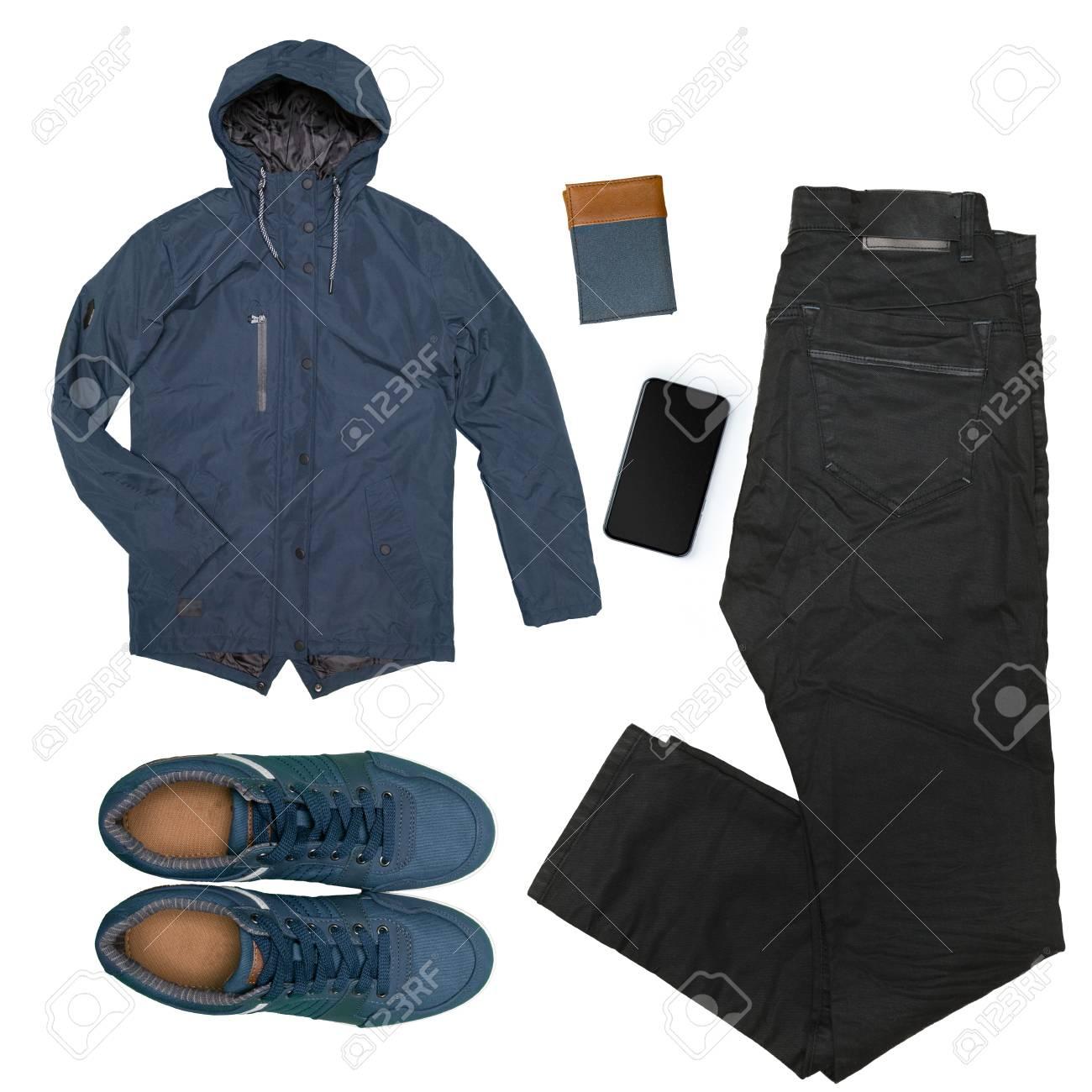 c3a3c749be Colección de ropa masculina aislados en blanco Foto de archivo - 86306552