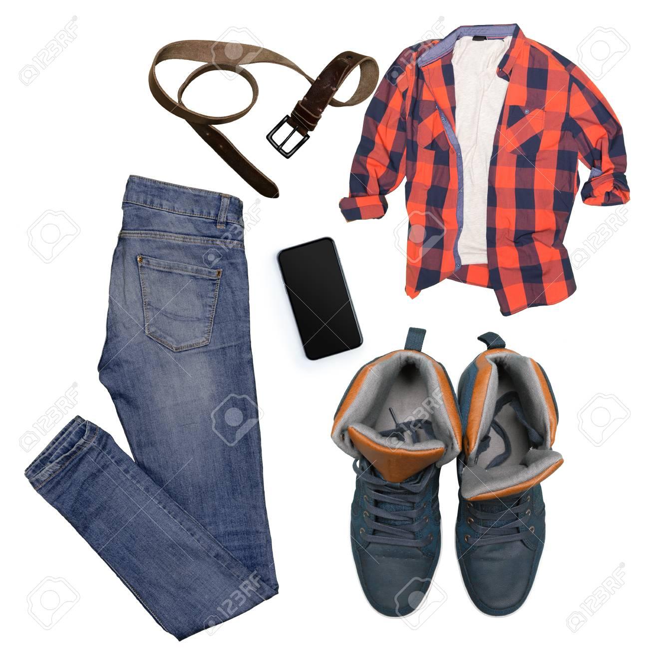 a8722425a8 Colección de ropa masculina aislados en blanco Foto de archivo - 86375061
