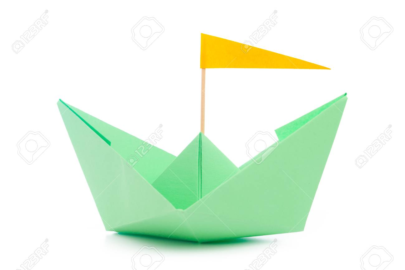 Origami Paper Boat Isolated On White Background Stock Photo Picture