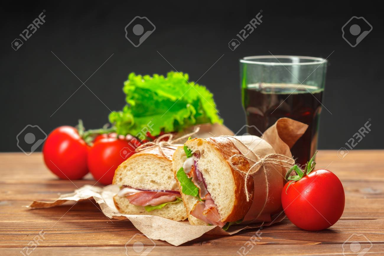 sandwich on a wooden table - 111119896