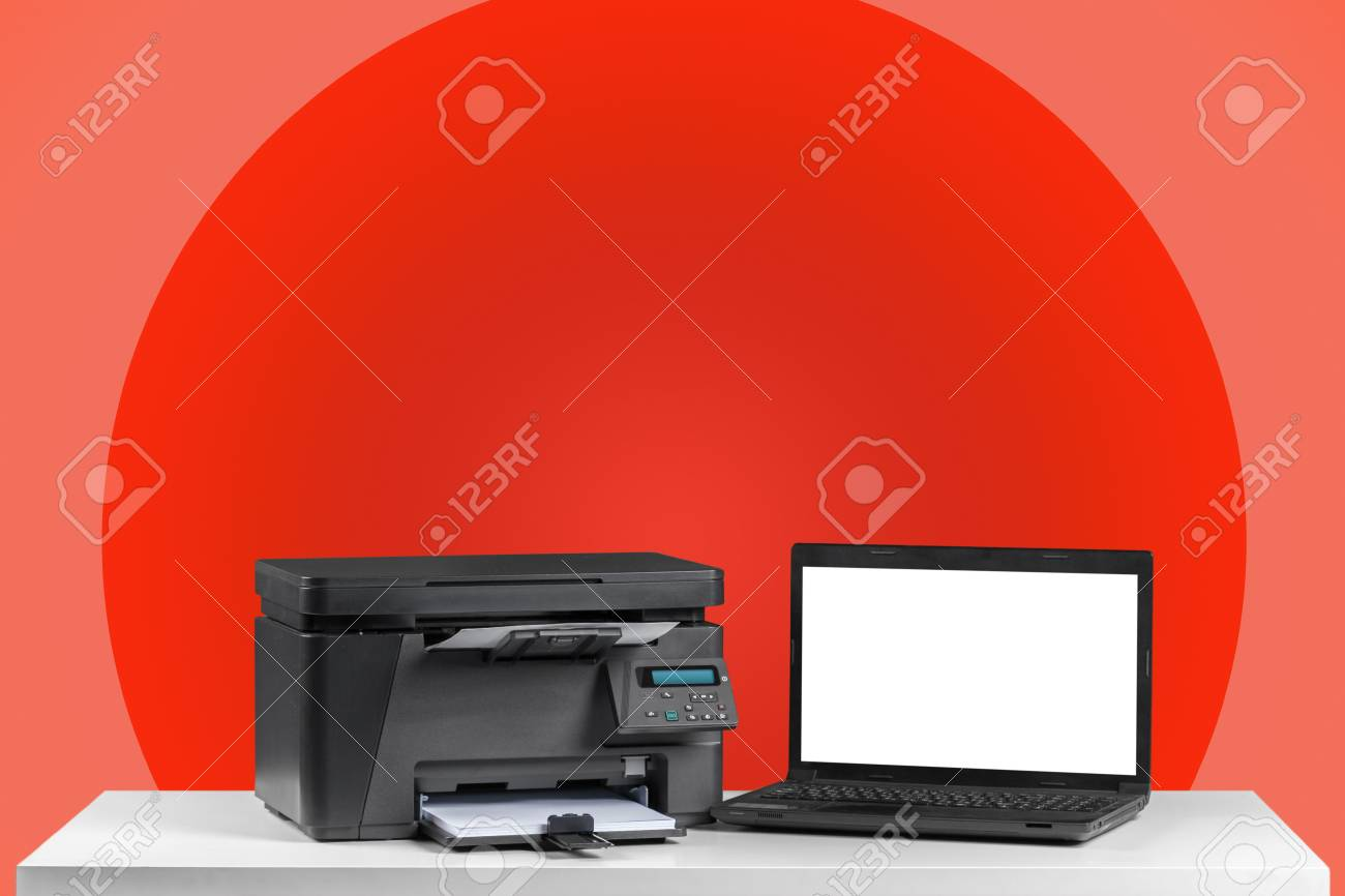 Printer And Computer. Office Table Stock Photo   111596045