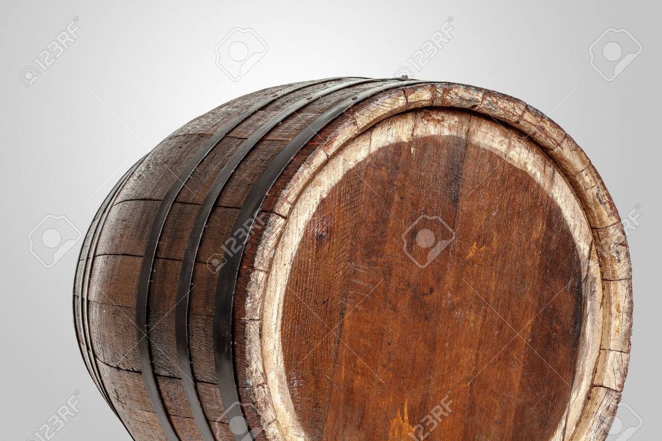 Wooden Barrel With Iron Rings Isolated On White Background Stock Photo Picture And Royalty Free Image Image 141660042