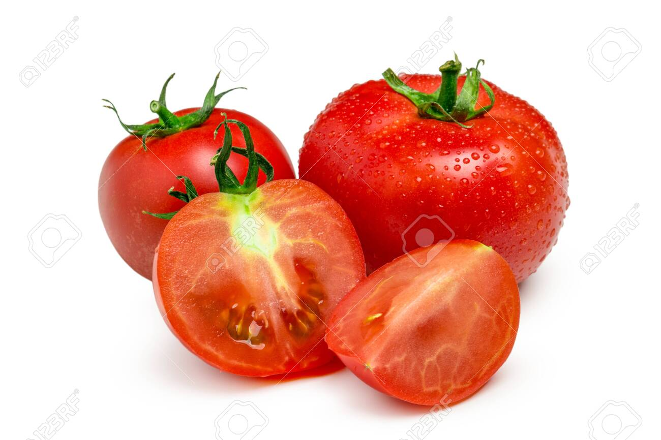 Tomatoes. Whole and a half isolated on white. Close up. - 145814454