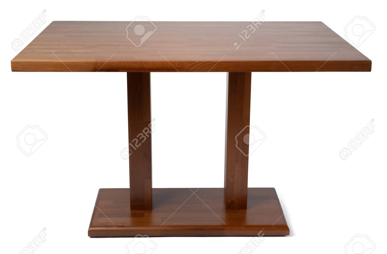 Wooden table with rectangle tabletop isolated on white background - 150978954