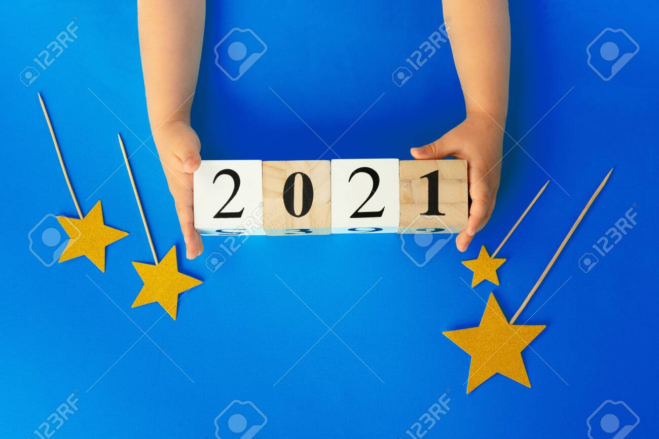 Concept of the year 2021. 2021 numbers on paper background, view from above - 153177742