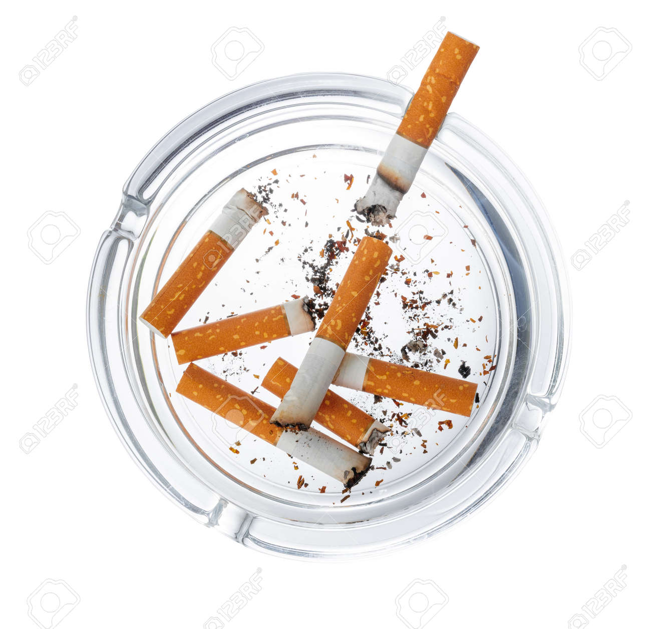 Burnt cigarette butts in an ash tray isolated on white - 155506367