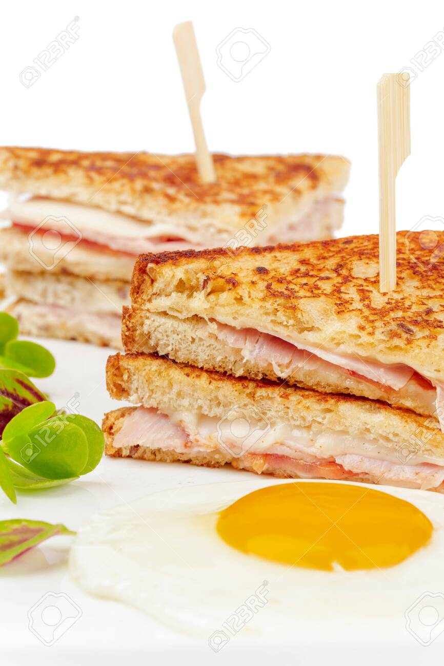 Sandwich with meat slices on white background - 156721266