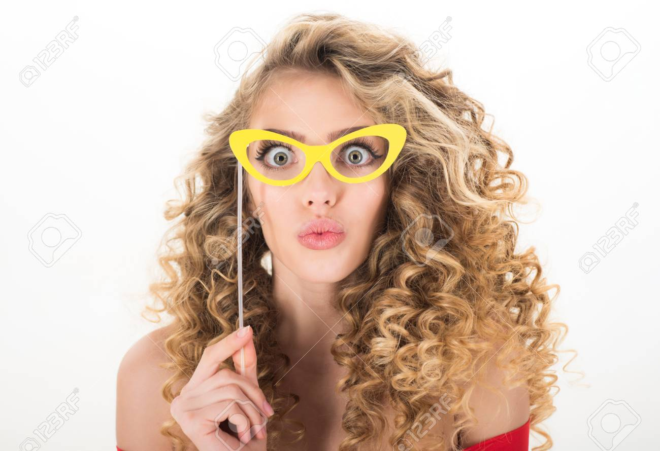 woman with curly hair portrait of funny positive girl with curly