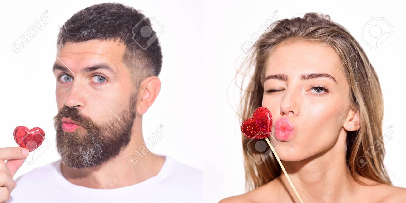 Emotion set of pretty girl and bearded man  Woman and bearded