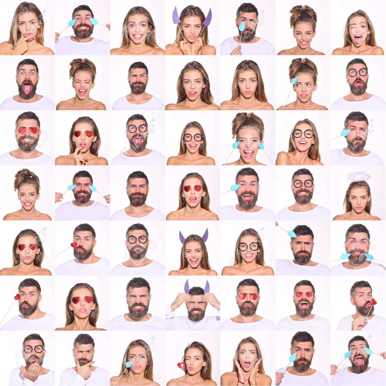 Collage of emotions. Different emotions. Emotion set of pretty girl and bearded man. Feeling and emotions. Emoji set. Set of human emotions. Emoji. Isolated on white background. Face expression. - 122775567