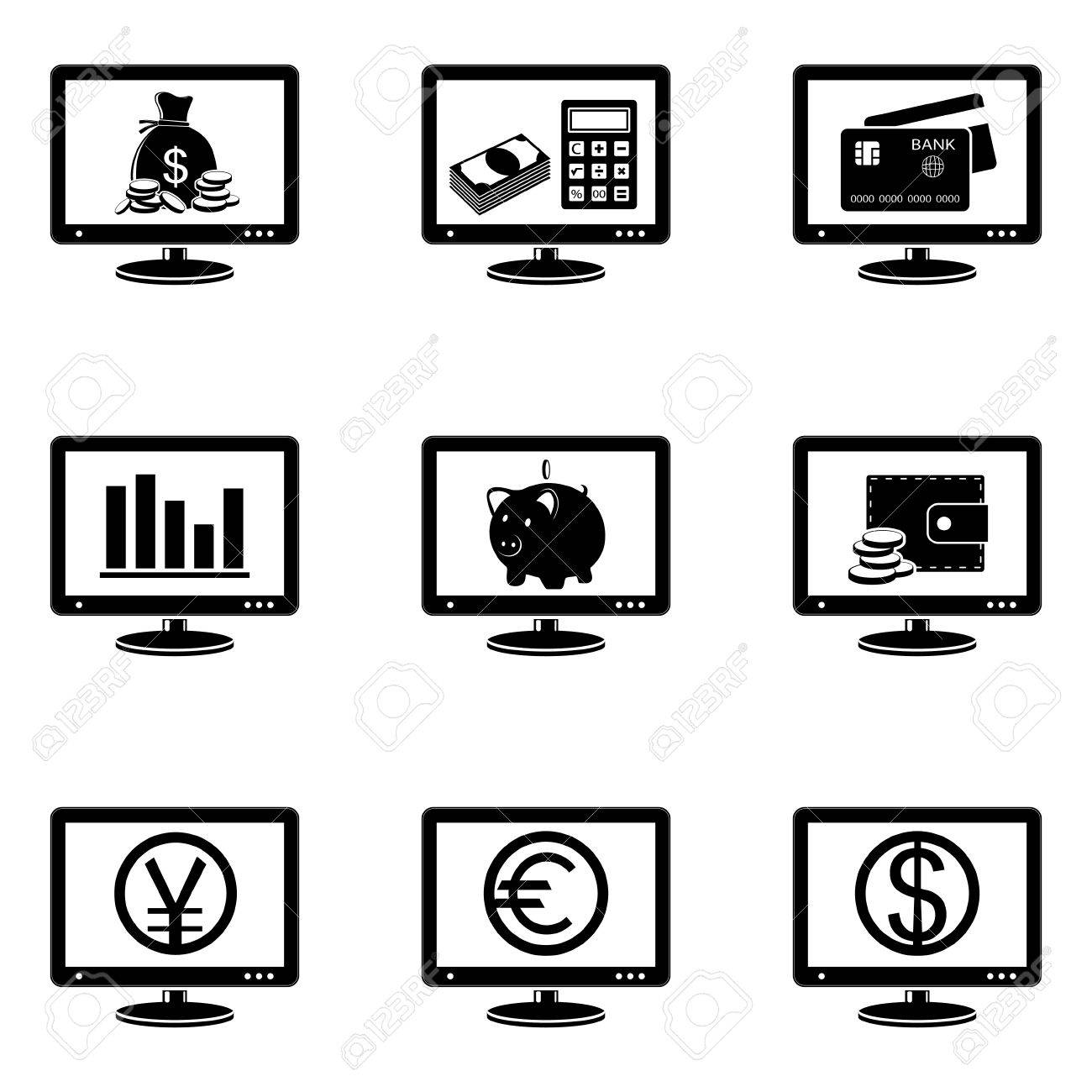 Monitor icons with finance signs on screen Stock Vector - 26330114