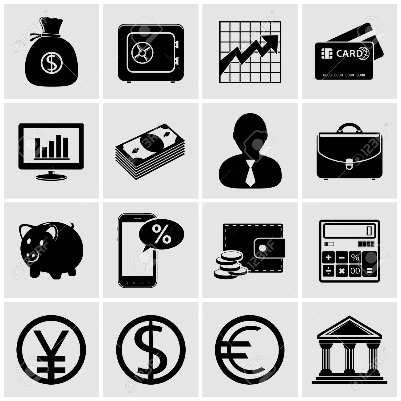 Business   Finance Icons Stock Vector - 27523986