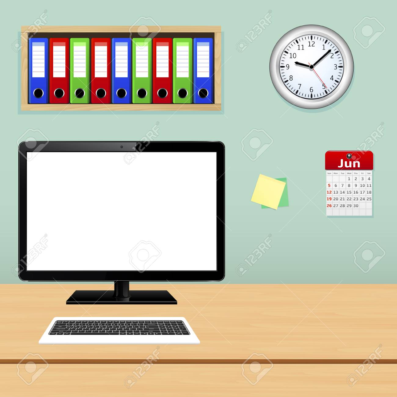 office workplace with computer pc file folder calendar and