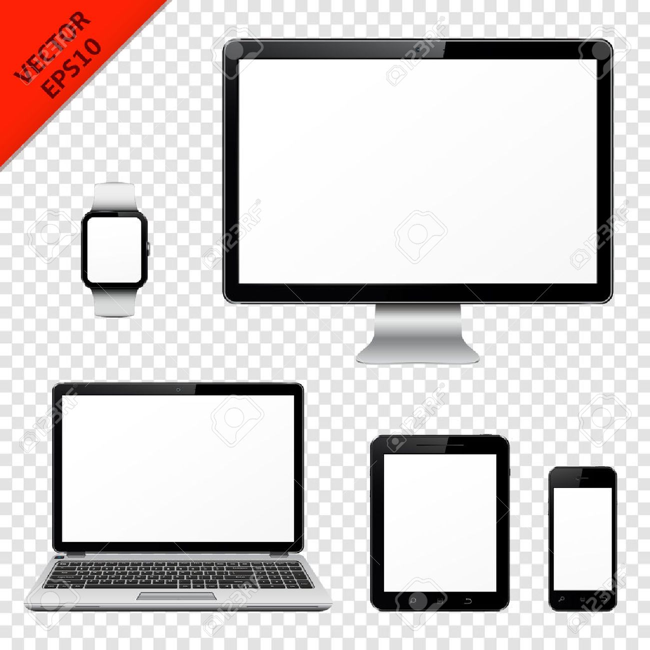 Computer monitor, laptop, tablet pc, mobile phone and smart watch isolated on transparent background - 58047088