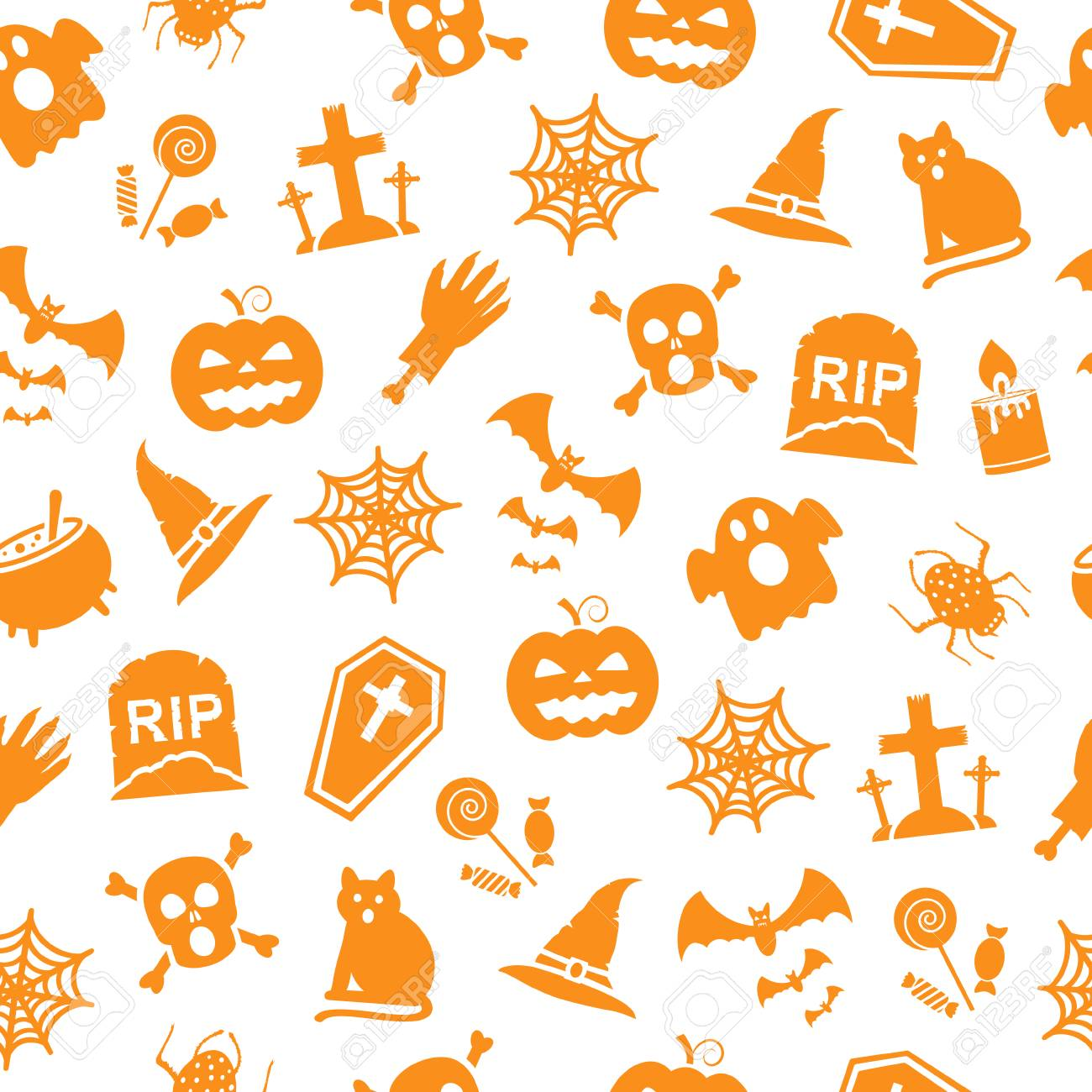 Fondo De Halloween. Patrón Sin Costuras Ilustraciones Vectoriales ...