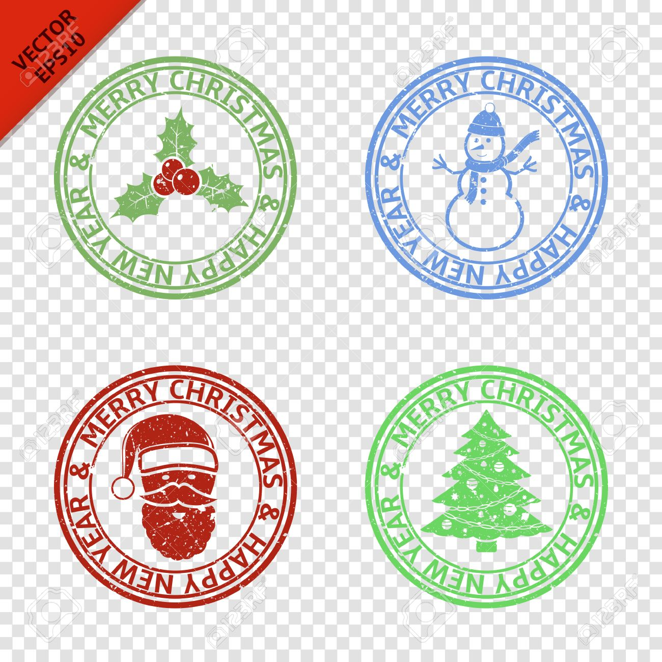 Christmas Stamps.Merry Christmas Stamps With Art Christmas Elements Isolated On