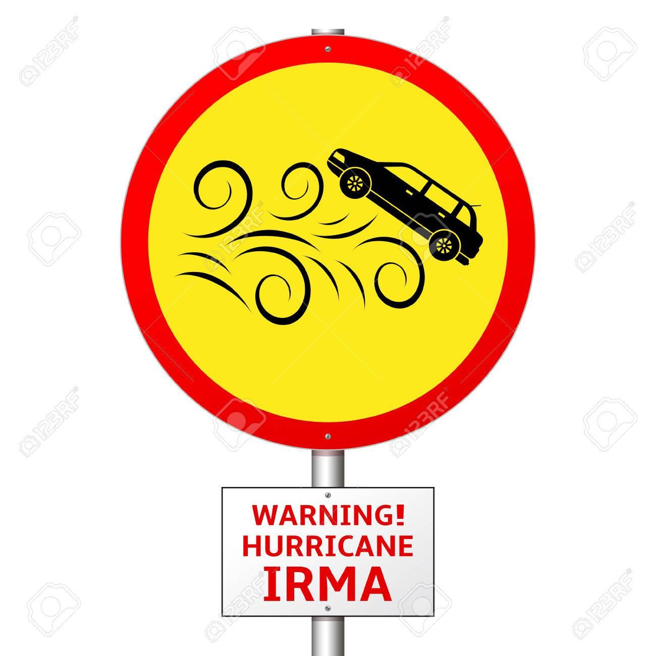 Warning Hurricane Irma Danger To Transport Road Sign Royalty Free