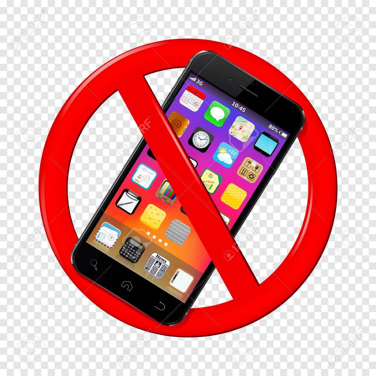 Do Not Use Mobile Phone Sign Isolated On Transparent Background