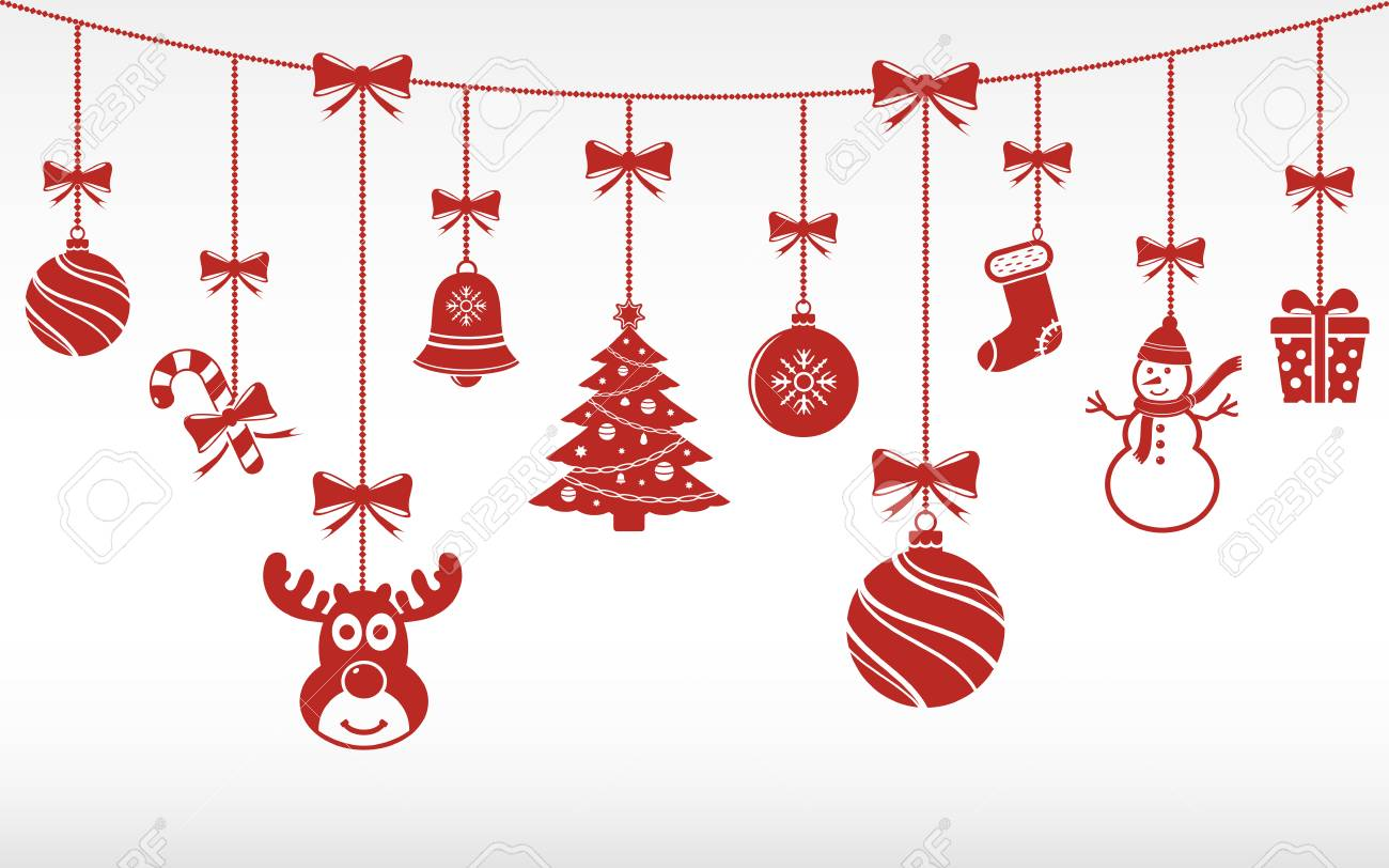 Christmas Vectors.Christmas Red Ornaments Hanging Merry Christmas Vector Background