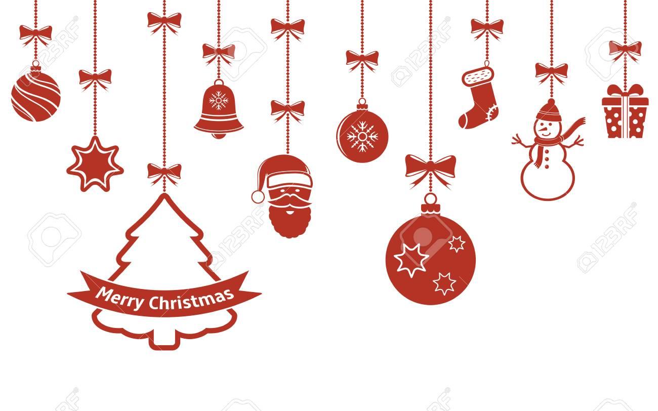 クリスマスオーナメント分離背景赤をぶら下がっています。ベクトルの図。