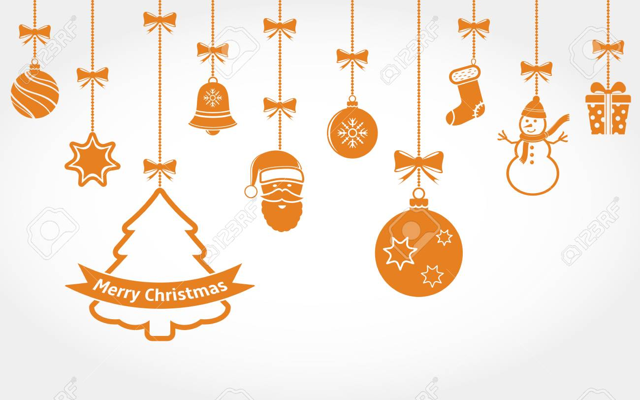 Christmas Ornament Vector.Hanging Christmas Ornaments Vector Background