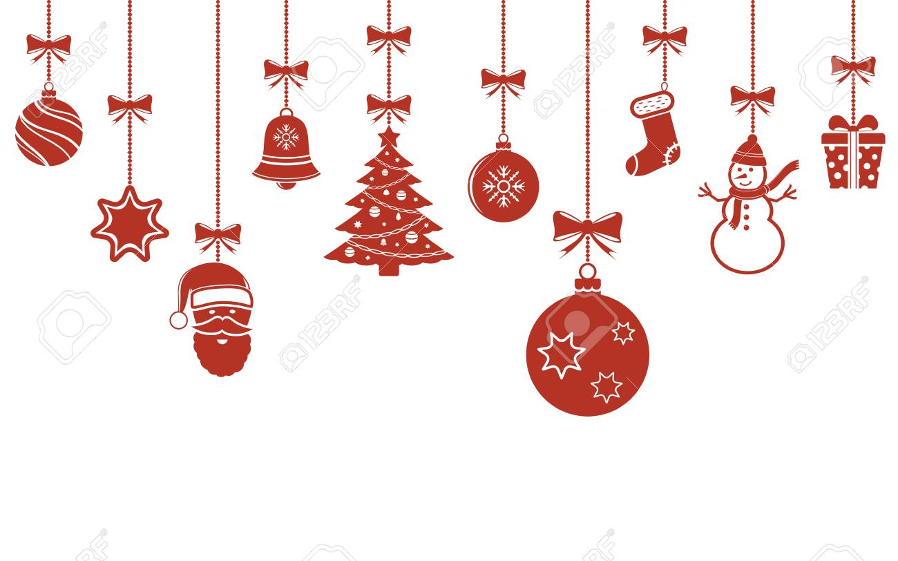 Hanging Christmas Decorations.Christmas Hanging Ornaments Background Christmas Banner