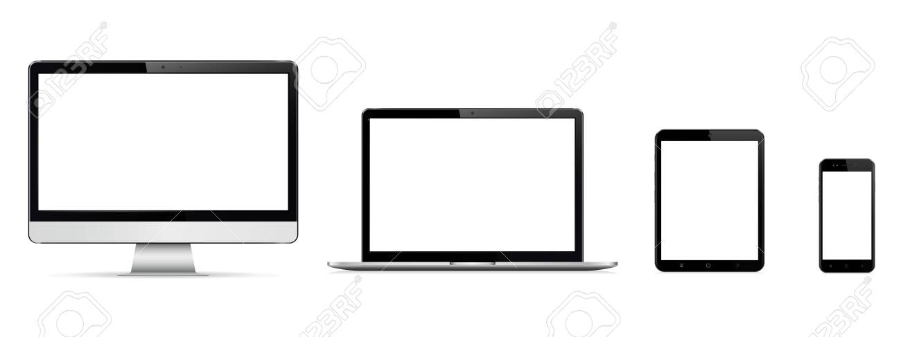 Realistic set of monitor, laptop, tablet, smartphone - 121583101