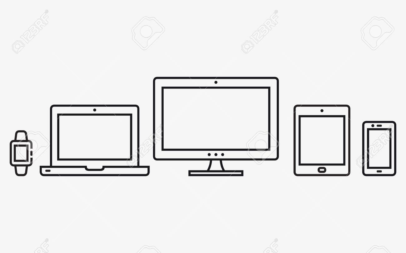 Responsive web design icons. Mobile phone, tablet, laptop, desktop computer. Vector illustration. - 140582341