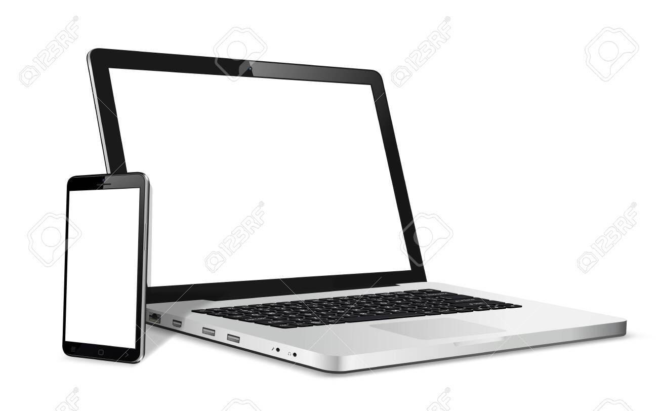Laptop and phone mock up. Vector illustration for responsive web design. - 148106465