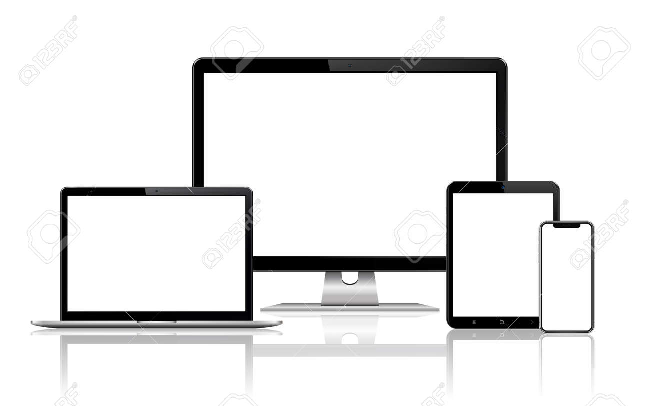 Responsive web design computer display, laptop and tablet pc with mobile phone isolated. Vector illustration. - 166547430