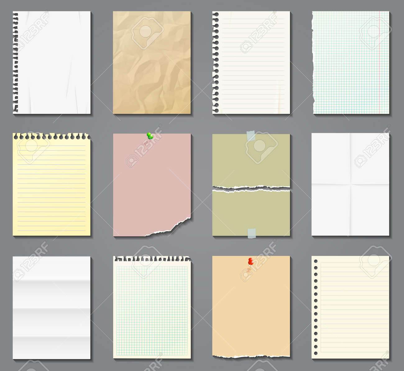 Blank paper sheets in a cage, in a line and aged on gray background. Vector illustration. - 165809039