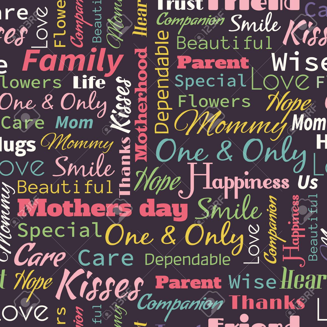 vector mother s day seamless pattern with words for mother royalty