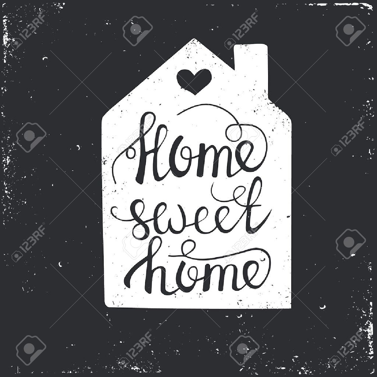 Hand Drawn Typography Poster. Conceptual Handwritten Phrase Home ...