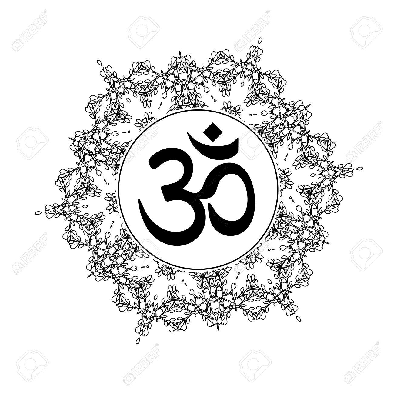 Diwali Om Symbol With Mandala Great Design For Tattoo Yoga