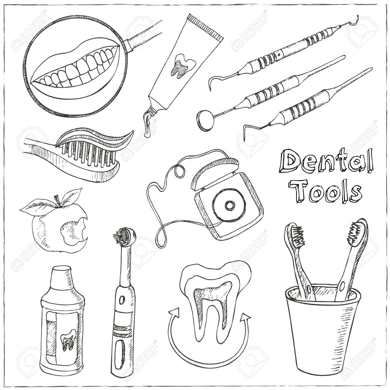 Doodle style dentist equipment sketch. Set includes picks, mirrors, caduceus, toothbrush, smile, and teeth. - 54920578