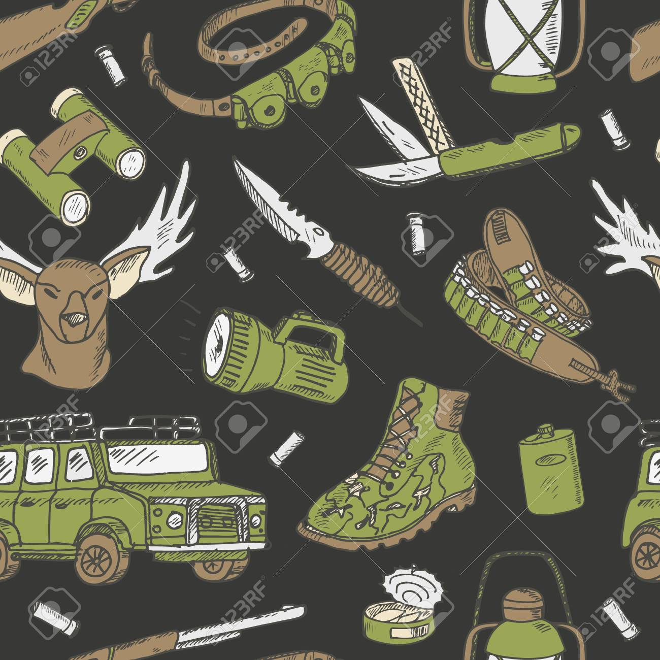 Hand drawn hunting seamless pattern  Sketchy hunt related icons,