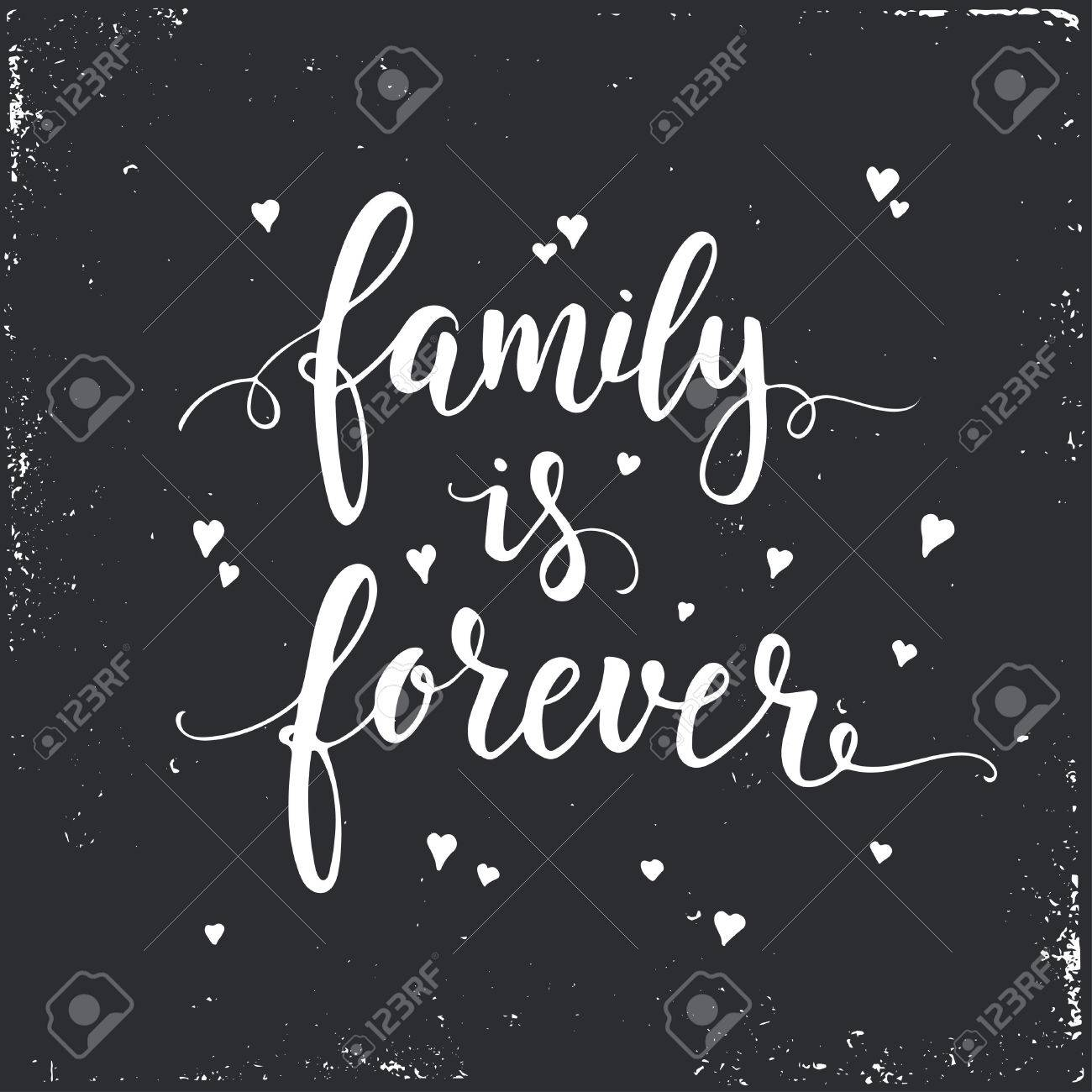 T shirt design inspiration typography - Inspirational Vector Typography Family Is Forever Hand Drawn Typography Poster T Shirt Hand Lettered Calligraphic Design