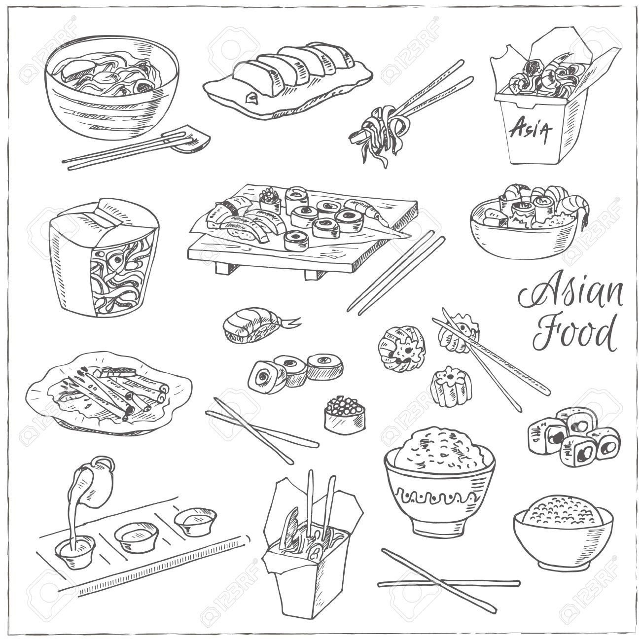 Asian Food Decorative Chinese Icons Set Vector Illustration For Design Menus Recipes