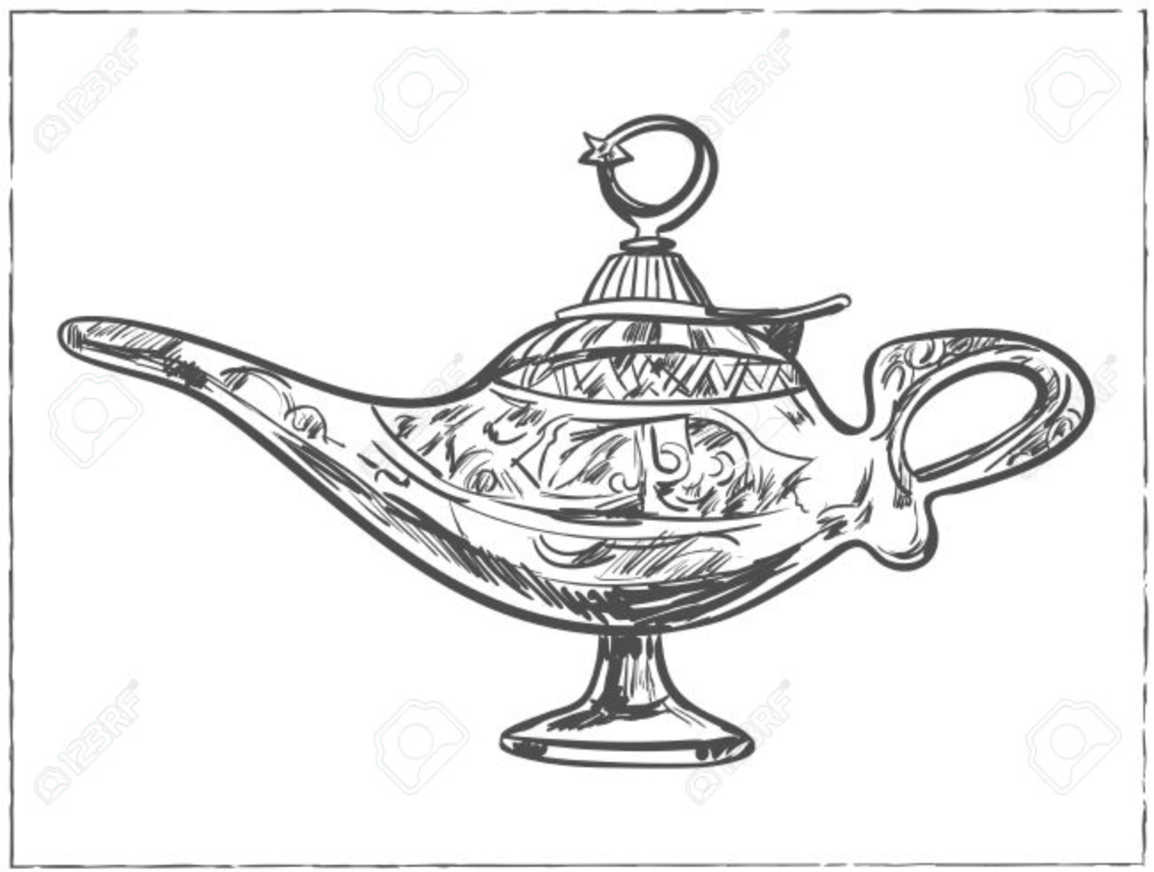 Magic Arabic Lamp For Holy Month Of Muslim Community, Ramadan ... for Ramadan Lamp Drawing  110zmd