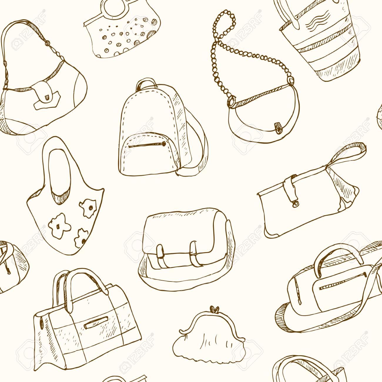 Dessinés La Main Illustration Bagages Esquisse Vector À Seamless VoyageValiseCasSac Pour Doodle Sacs Juc5lFT13K