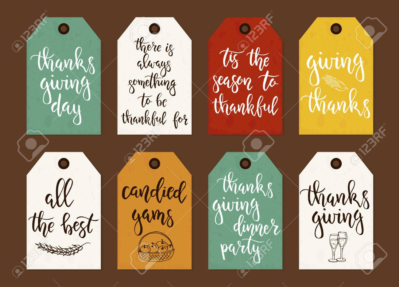 image regarding Free Printable Thanksgiving Tags called Thanksgiving working day common present tags and playing cards with calligraphy