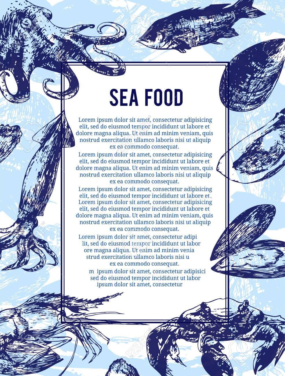 Meeresfrüchte-Banner Oder Flyer. Gut Als Vorlage Für Werbung ...