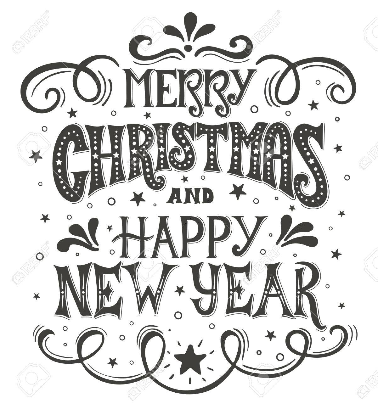 Merry Christmas And Happy New Year. Conceptual Handwritten Phrase ...
