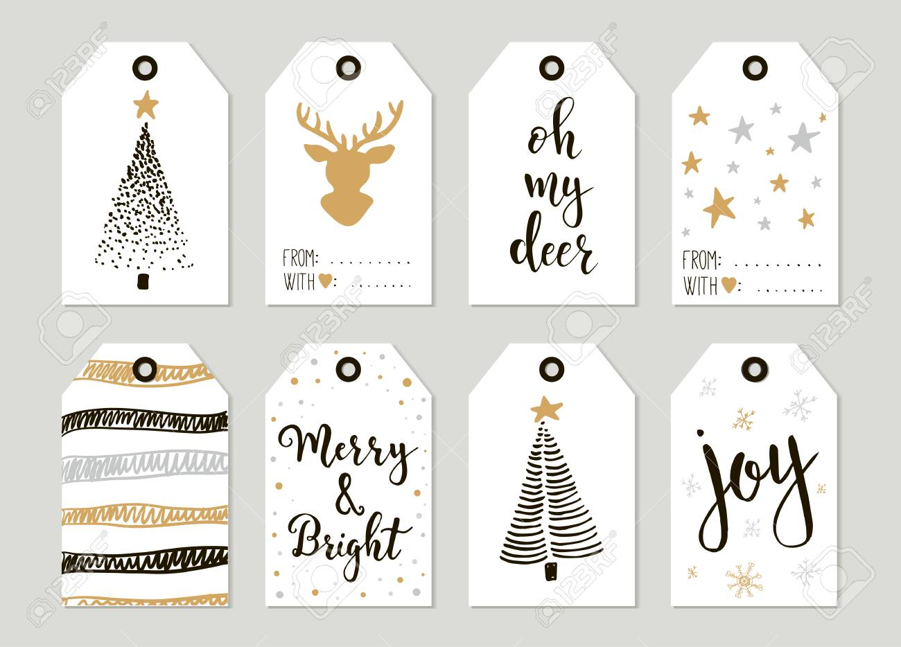 Merry Christmas Gift Tags.Merry Christmas And Happy New Year Vintage Gift Tags And Cards