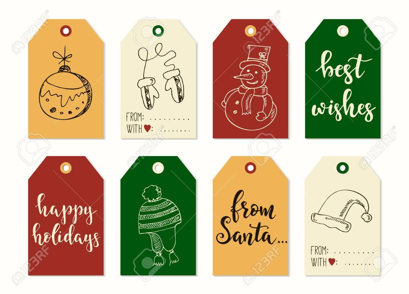 Frohe Weihnachten Und Happy New Year Vintage Geschenkanhänger Und ...