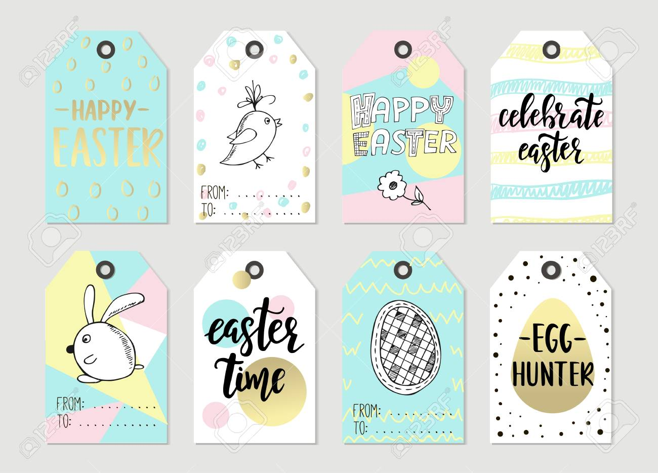 photo regarding Printable Easter Gift Tags called Preset with Joyful Easter reward tags and playing cards with calligraphy. Handwritten..