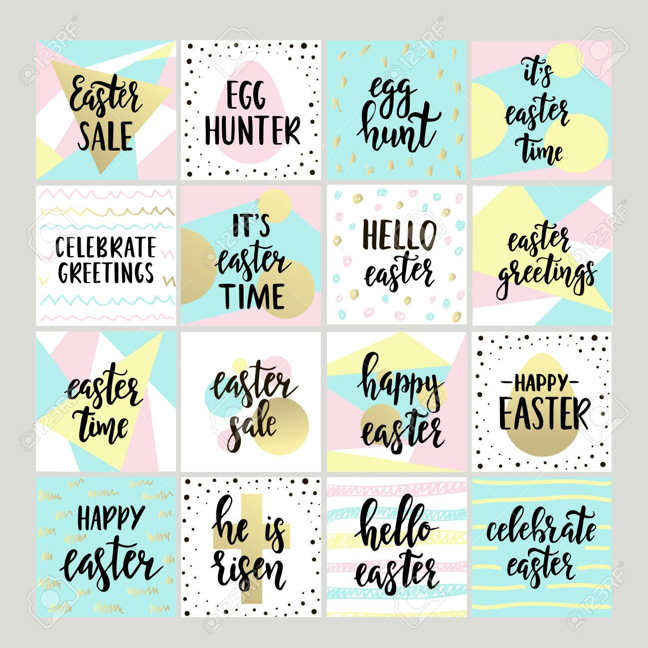 Set with happy easter gift tags and cards with calligraphy set with happy easter gift tags and cards with calligraphy handwritten lettering hand drawn negle Image collections