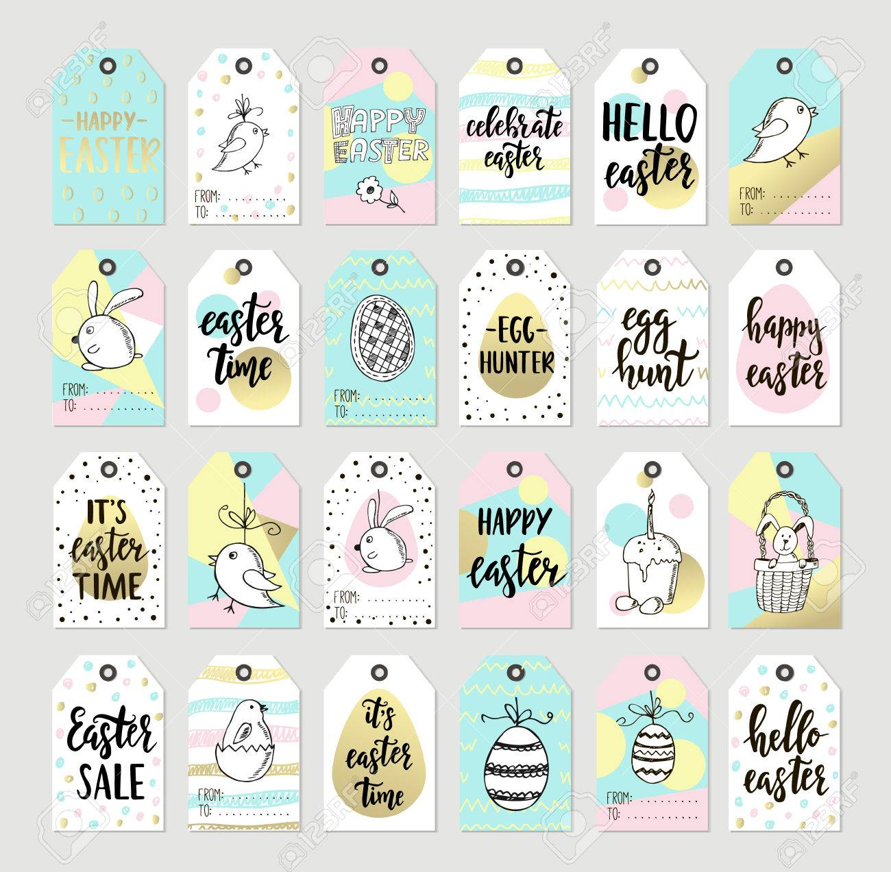 Set with happy easter gift tags and cards with calligraphy set with happy easter gift tags and cards with calligraphy handwritten lettering hand drawn negle Images