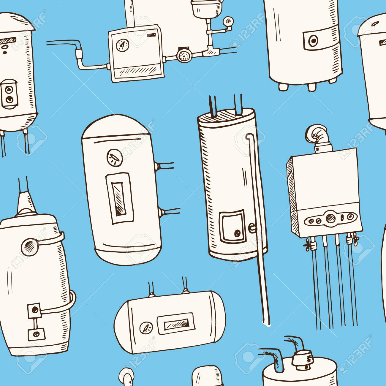 Water Heater, Boilers Hand Drawn Doodle Seamless Pattern. Sketches ...